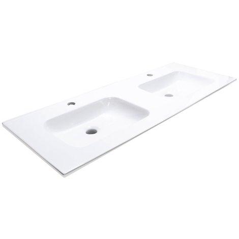 Double vasque a poser 120 cm Lavabo Ceramique Blanc salle de bain ...