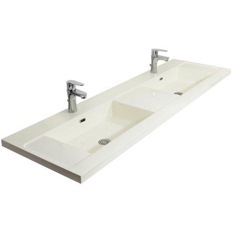 Double Vasque à poser 160 cm Lavabo de salle de bain Blanc Brillant