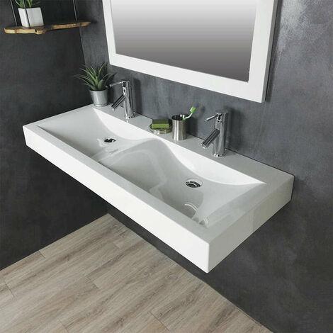 Double vasque à poser ou à suspendre 120 cm en Pierre de synthèse finition blanc brillant - Eva