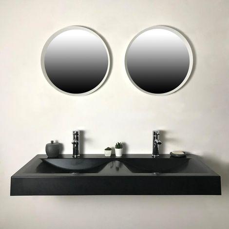 Double vasque à poser ou à suspendre 120 cm Noir en Pierre de synthèse - Eva