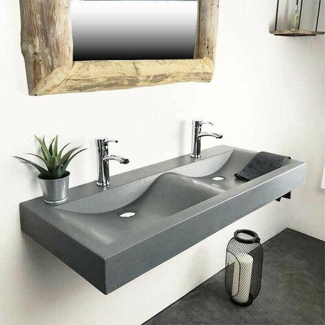 Double vasque à poser ou à suspendre rectangulaire 120m Gris en Pierre de synthèse - Eva