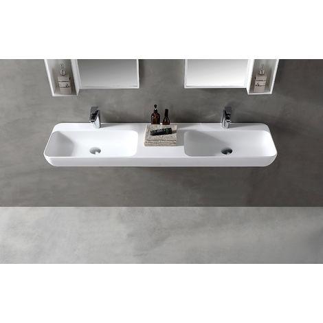 Double vasque à poser ou pour montage mural TWG205 en pierre solide (Solid Stone) - blanc mat - 150x40x12cm