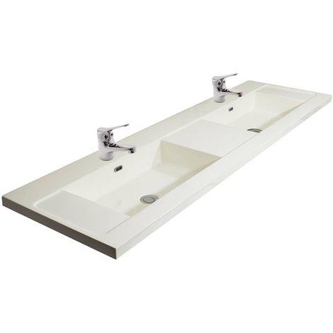 Double Vasque en Marbre de synthèse 160 Cm Blanc Avec 2 Mitigeurs Lavabo Design