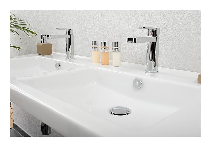 Double vasque \'TRENDY\' lxHxP1210x155x510mm avec 2 trous pour robinetterie