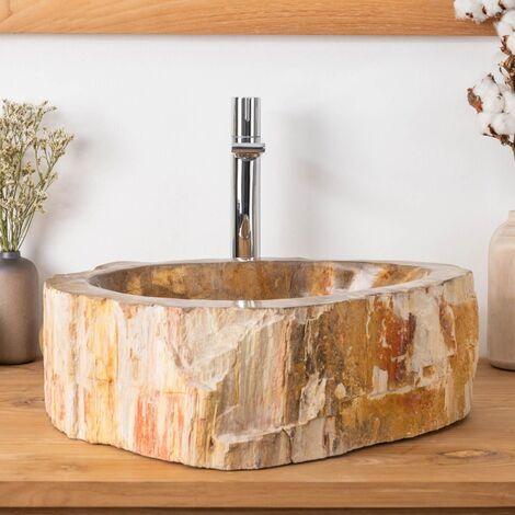 Double vasques de salle de bain en bois pétrifié fossilisé 45 CM - 3376