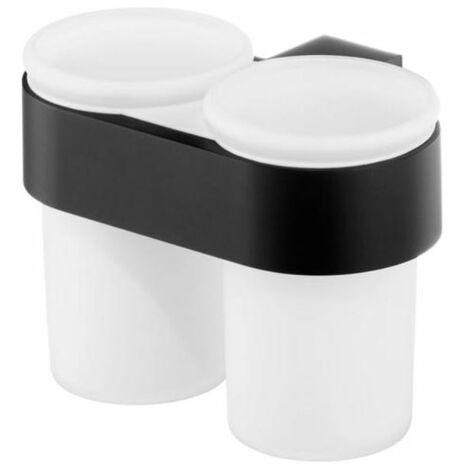 Double verre trempé dentifrice brosse à dents coupe salle de bain zamak enduit de poudre noire