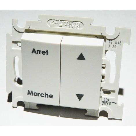 Double V&V volet roulant blanc avec position Marche/Arret encastré bornes auto fixation vis sans plaque ALTERNATIVE ELEC AE52019