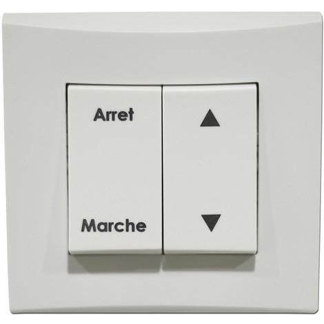 Double V&V volet roulant blanc position Marche/Arret bornes auto fixation vis complet avec plaque ALTERNATIVE ELEC AE52019-P
