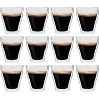 Double Wall Thermo Glass for Espresso Coffee 12 pcs 280 ml