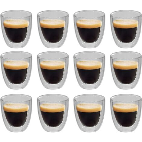Double Wall Thermo Glass for Espresso Coffee 12 pcs 80 ml