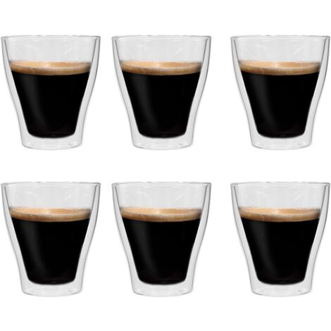 Double Wall Thermo Glass for Espresso Coffee 6 pcs 280 ml