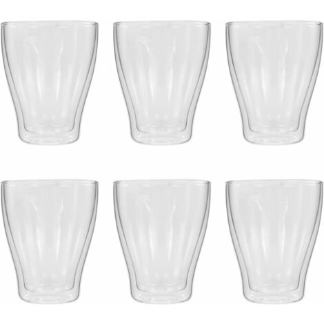Double Wall Thermo Glass for Espresso Coffee 6 pcs 370 ml