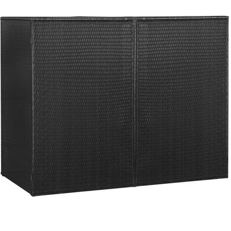 Double Wheelie Bin Shed Black 153x78x120 cm Poly Rattan - Black