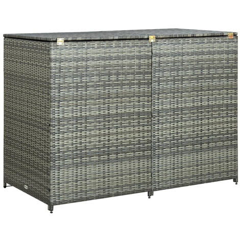 Double Wheelie Bin Shed Poly Rattan Anthracite 148x77x111 cm