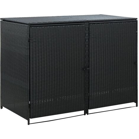 Double Wheelie Bin Shed Poly Rattan Black 148x80x111 cm - Black