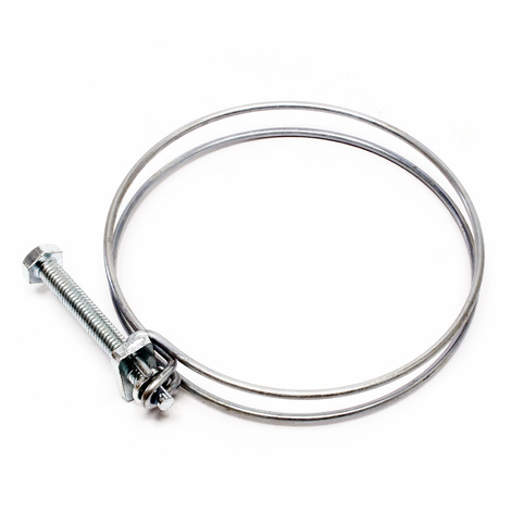 Double wire hose clip clamps W1 screw tight 63-68 mm 2.2 mm M6x60