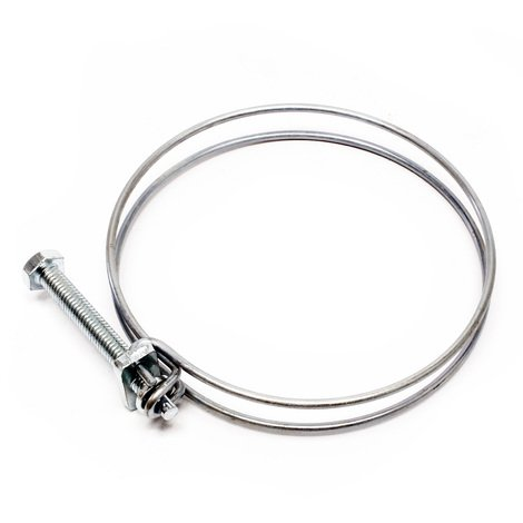 Double wire hose clip clamps W1 screw tight 75-80 mm 2.2 mm M6x70