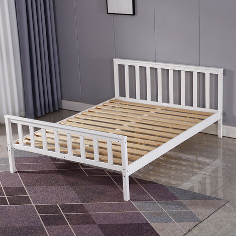 Double Wood Bed Frame Standard Solid Wooden 4Ft6 148*82*198cm