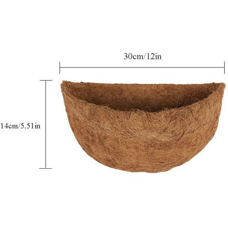 """Doublure en coco demi-ronde Jardinière murale demi-ronde Doublure de remplacement en fibre de coco pour paniers muraux suspendus 12"""""""