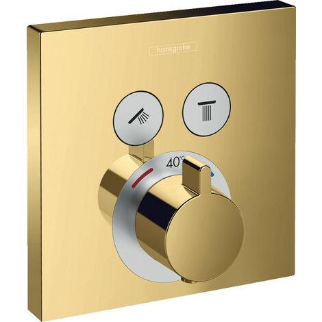douche à la main, thermostat ShowerSelect, encastré, 2 consommateurs, 15763, Coloris: bronze brossé - 15763140
