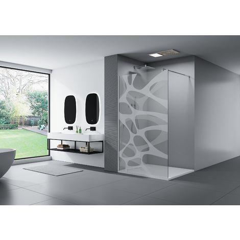 Douche à l'italienne modèle Wave en verre avec motif opaque EX101 revêtement NANO - largeur sélectionnable