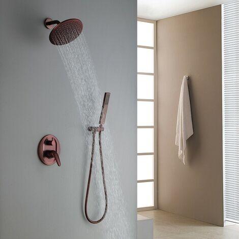 Douche de pluie en cuivré moderne murale et douche de main en laiton
