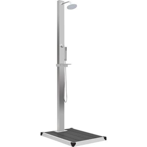 Douche d'extérieur avec receveur de douche WPC Acier inoxydable