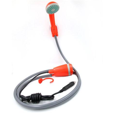 Douche Portatif 12V Electrique En Plein Air Avec La Pompe Pour Voiture Laver Camping Randonnee Jardin Fleurissant Arrosage Des Plantes, Orange