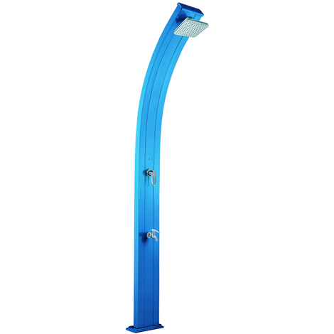 Douche solaire aluminium Spring avec rince-pieds - Poolstar - Bleu