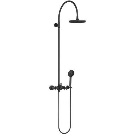 Douchette Dornbracht Tara avec mitigeur de douche, sans douchette à main, saillie de 420 mm, douche fixe, Coloris: Noir Mat - 26632892-33