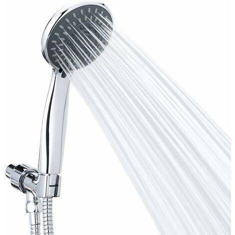 Douchette jets de massage Spa Pommeau de douche à main Chrome Face amovible avec long flexible et support réglable