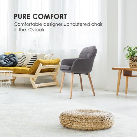 Doug Upholstered Chair Foam Upholstery Polyester Wood Legs Dark Grey