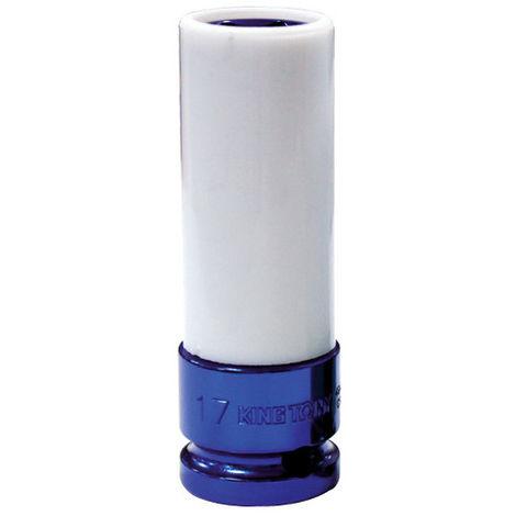 Douille à choc longue spéciale jante alu 6 pans 1/2 - 17 mm L. 86 mm - Bleu
