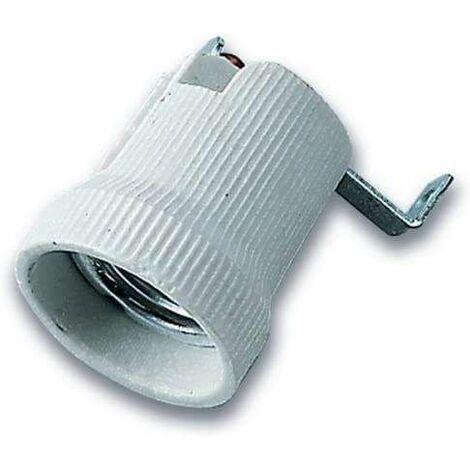 Douille ampoule E27 porcelaine avec support de fixation métallique