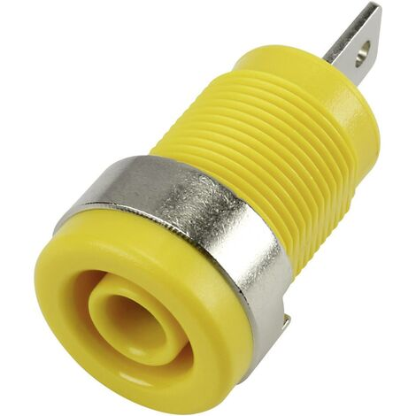 Douille banane de sécurité, montage vertical Ø 4 mm jaune 1 pcs. S842041