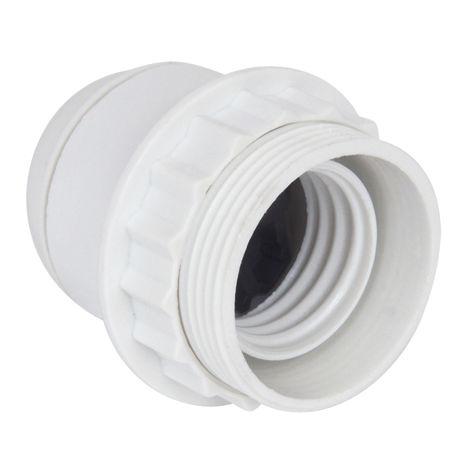 Douille E27 chem 1/2 filetee avec bague D58mm raccord 10mm blanc - Debflex