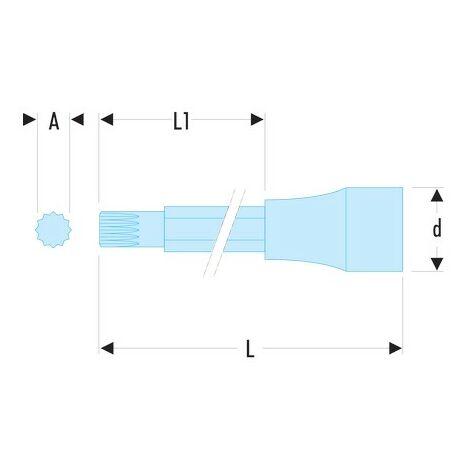 """main image of """"Douille tournevis 1/2 embout long et extra long à denture multiple XZN M14mm"""""""