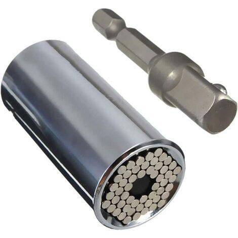 Douille Universelle, (7mm-19mm) Cliquet Universelle Outil de Réparation avec 3/8 Tige d'Extension Hexagonale Clé Adaptateur Drill Multifonctionnel Outil à Main Clé Adaptateur Drill Outil