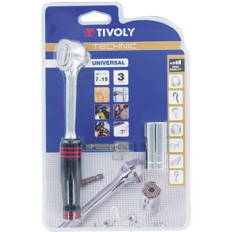 Douille universelle clé à Cliquet outil réparation avec poignée Tivoly - 7-19 mm