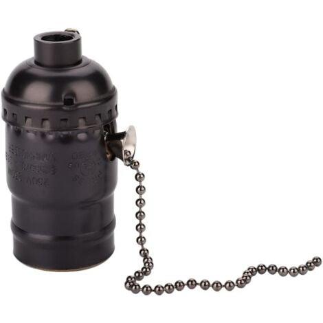 Douille vintage en Bakelite avec interrupteur à chaînette de type E27