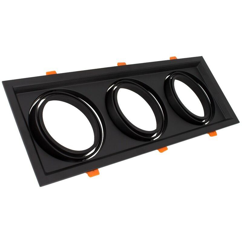 Ledkia - Downlight Aro Quadrato Basculante per tre Lampadine LED AR111 Nero