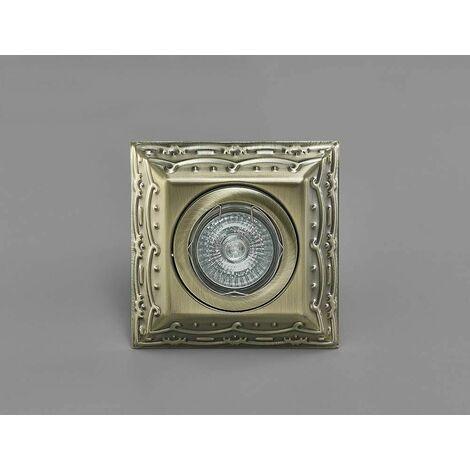 Downlight Aspen Vintage Design square GU10 antique brass