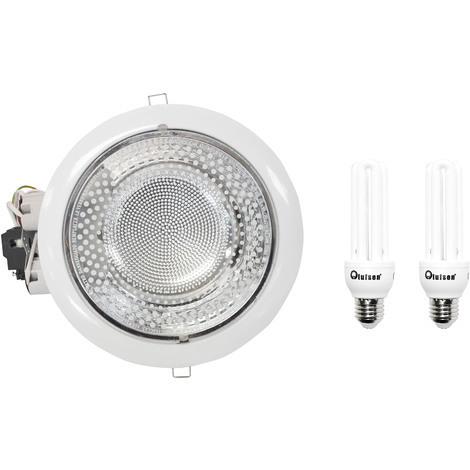 Downlight Blanco 23 cm diámetro + 2 bombillas bajo consumo 20W