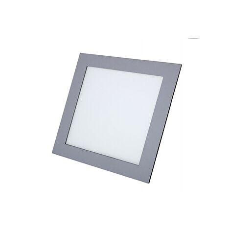 Downlight cuadrado plata 18W luz cálida 22x22 cm - 0