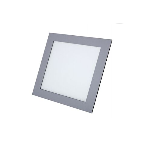 Downlight cuadrado plata empotrado 12w 3000k luz calida - 0