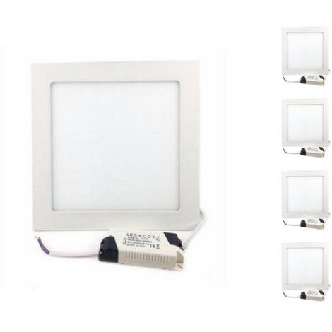 Downlight Dalle LED Extra Plate Carré BLANC 18W (Pack de 5) - Blanc Neutre 4000K - 5500K
