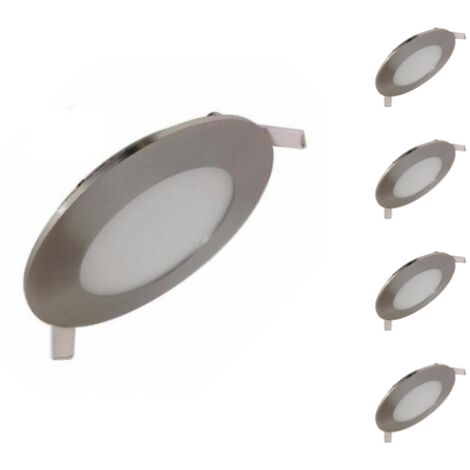 Downlight Dalle LED Extra Plate Ronde ALU 6W (Pack de 5) - Blanc Froid 6000K - 8000K