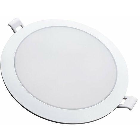 Downlight Dalle LED Extra Plate Ronde BLANC 12W Ø115mm - Blanc Chaud 2300K - 3500K