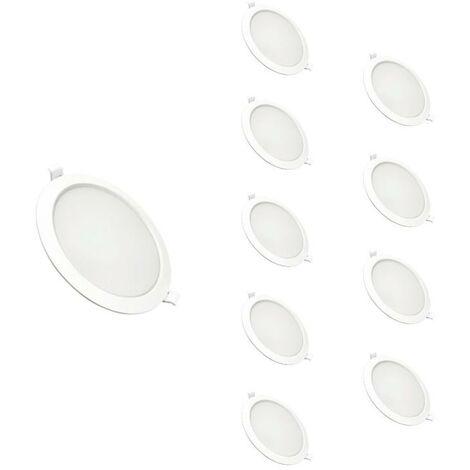 Downlight Dalle LED Plate Ronde BLANC 18W Ø170mm (Pack de 10) - Blanc Chaud 2300K - 3500K