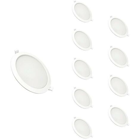 Downlight Dalle LED Plate Ronde BLANC 24W Ø225mm (Pack de 10) - Blanc Chaud 2300K - 3500K